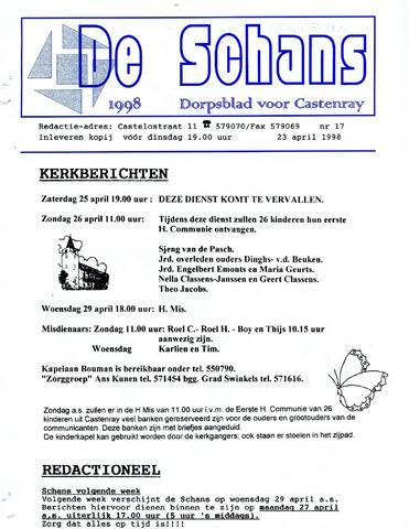 Castenrays dorpsblad De Schans 1998-04-23