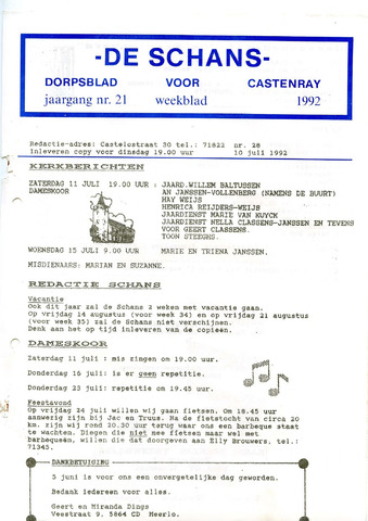 Castenrays dorpsblad De Schans 1992-07-10
