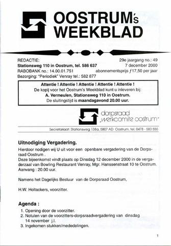 Oostrum's Weekblad 2000-12-07