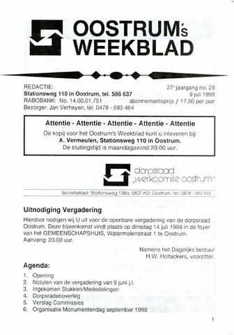 Oostrum's Weekblad 1998-07-09