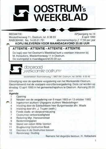 Oostrum's Weekblad 1993-04-08