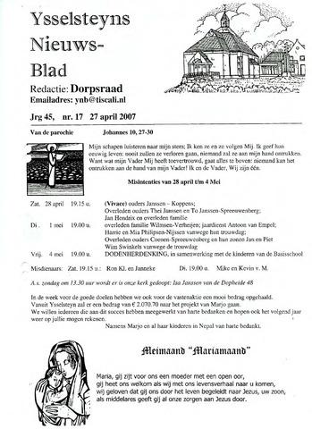 Ysselsteyns Nieuwsblad 2007-04-27