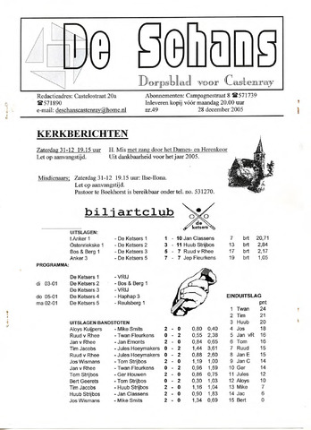 Castenrays dorpsblad De Schans 2005-12-28