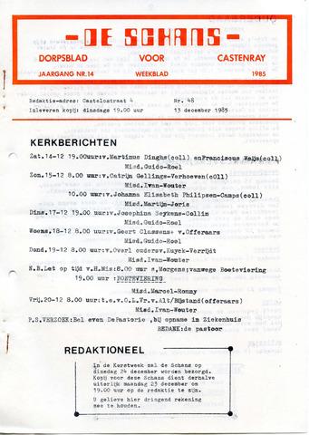 Castenrays dorpsblad De Schans 1985-12-13