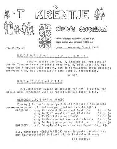 Oirlo's dorpsblad 't Krèntje 1978-05-03