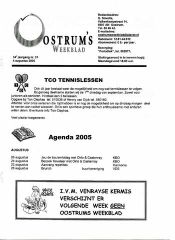 Oostrum's Weekblad 2005-08-04