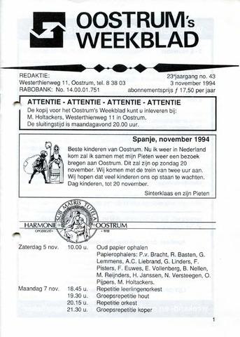 Oostrum's Weekblad 1994-11-03