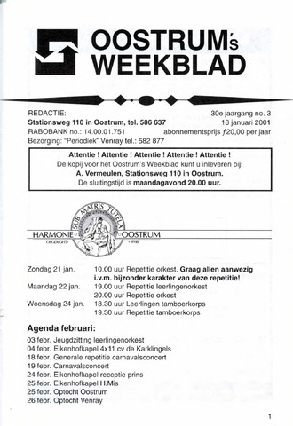 Oostrum's Weekblad 2001-01-18
