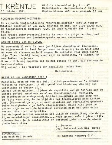 Oirlo's dorpsblad 't Krèntje 1971-10-15
