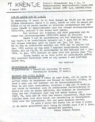 Oirlo's dorpsblad 't Krèntje 1973-03-09