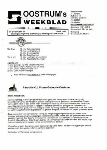 Oostrum's Weekblad 2003-05-28