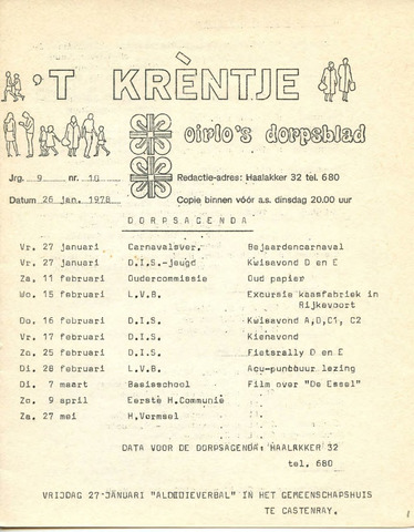 Oirlo's dorpsblad 't Krèntje 1978-01-26