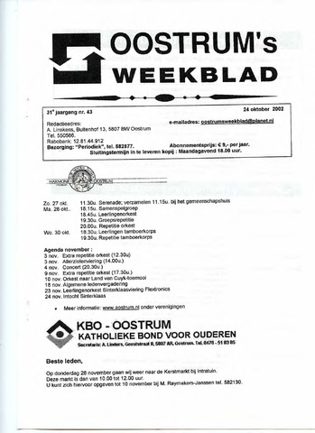 Oostrum's Weekblad 2002-10-24