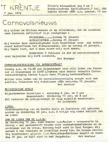 Oirlo's dorpsblad 't Krèntje 1972