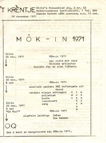 Oirlo's dorpsblad 't Krèntje 1971-11-19