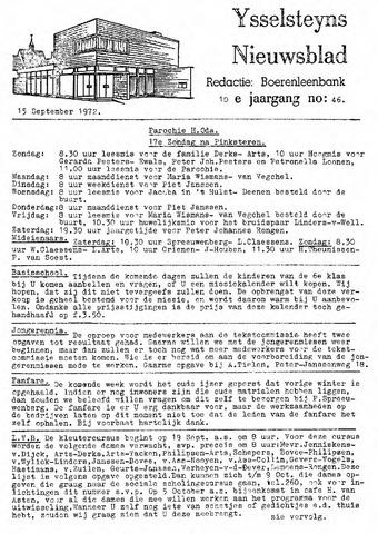 Ysselsteyns Nieuwsblad 1972-09-15