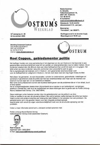 Oostrum's Weekblad 2005-11-24