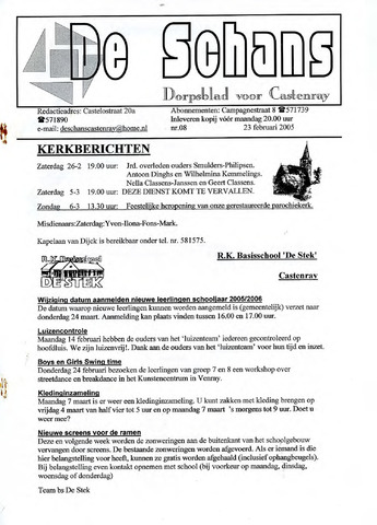 Castenrays dorpsblad De Schans 2005-02-23