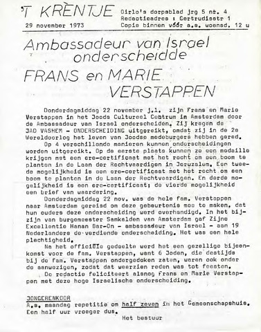 Oirlo's dorpsblad 't Krèntje 1973-11-29