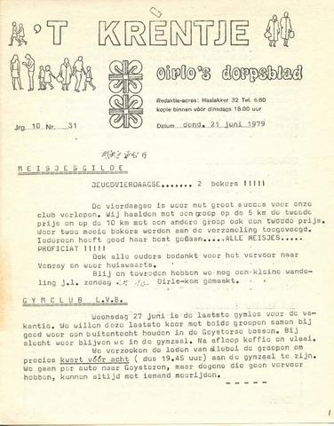 Oirlo's dorpsblad 't Krèntje 1979-06-21