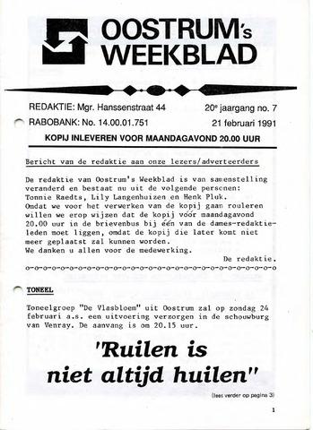 Oostrum's Weekblad 1991-02-21