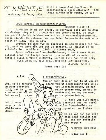 Oirlo's dorpsblad 't Krèntje 1974-02-21