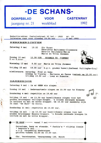 Castenrays dorpsblad De Schans 1992-05-08