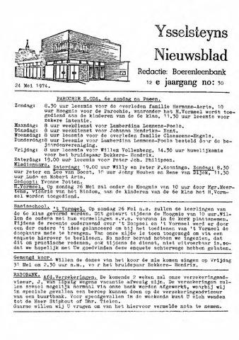Ysselsteyns Nieuwsblad 1974-05-24