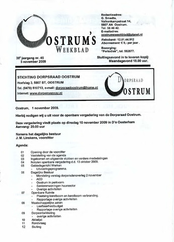 Oostrum's Weekblad 2009-11-05