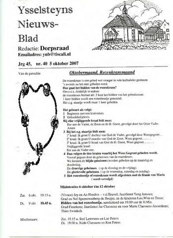 Ysselsteyns Nieuwsblad 2007-10-05