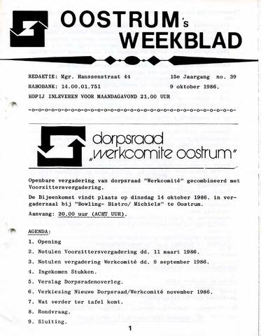 Oostrum's Weekblad 1986-10-09