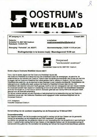 Oostrum's Weekblad 2001-03-08