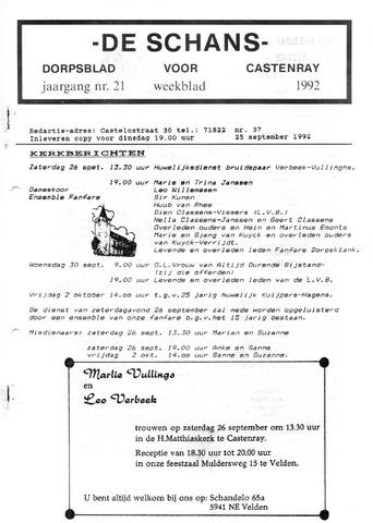 Castenrays dorpsblad De Schans 1992-09-25