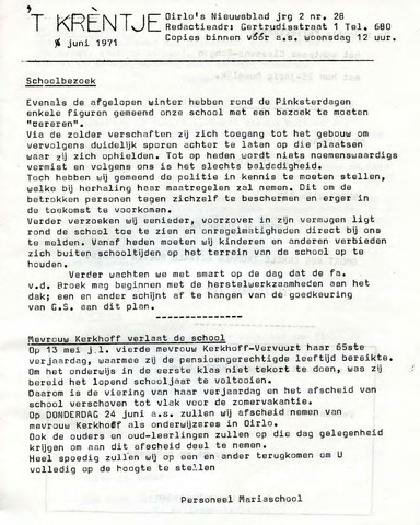 Oirlo's dorpsblad 't Krèntje 1971-06-04