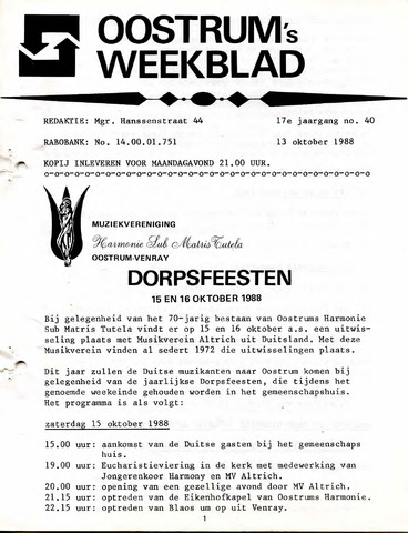 Oostrum's Weekblad 1988-10-13
