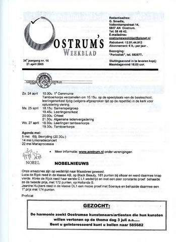 Oostrum's Weekblad 2005-04-21