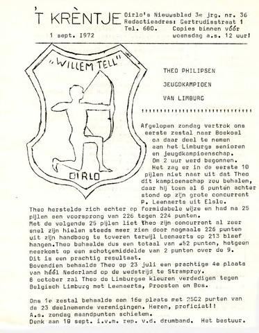 Oirlo's dorpsblad 't Krèntje 1972-09-01