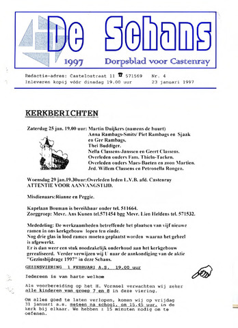 Castenrays dorpsblad De Schans 1997-01-23