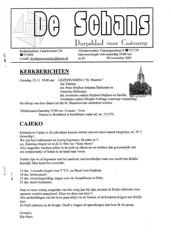 Castenrays dorpsblad De Schans 2005-11-09