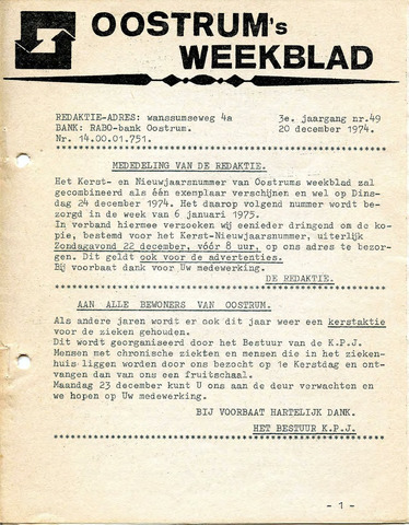 Oostrum's Weekblad 1974-12-20