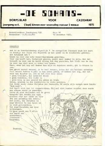 Castenrays dorpsblad De Schans 1975-12-19