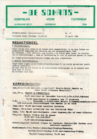 Castenrays dorpsblad De Schans 1986-04-25