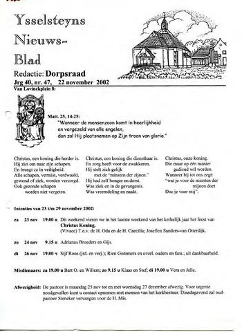 Ysselsteyns Nieuwsblad 2002-11-22