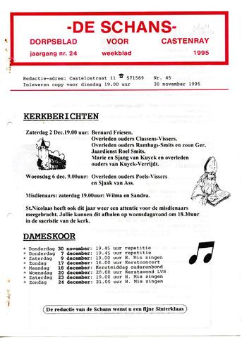 Castenrays dorpsblad De Schans 1995-11-30