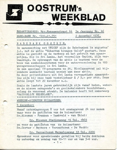 Oostrum's Weekblad 1976-12-02