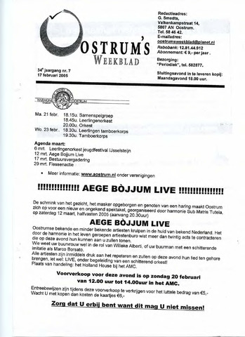 Oostrum's Weekblad 2005-02-17