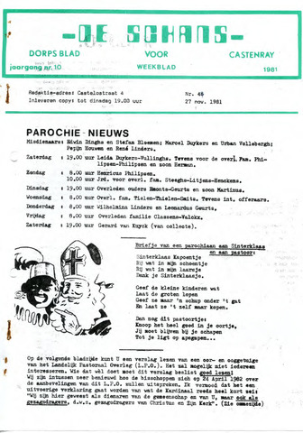 Castenrays dorpsblad De Schans 1981-11-27
