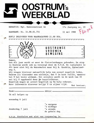 Oostrum's Weekblad 1988-05-11