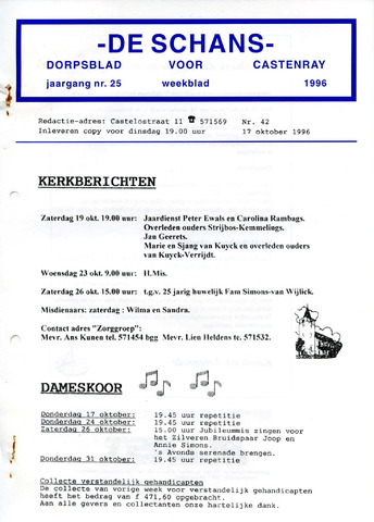 Castenrays dorpsblad De Schans 1996-10-17