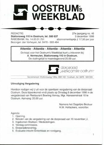 Oostrum's Weekblad 1998-12-03
